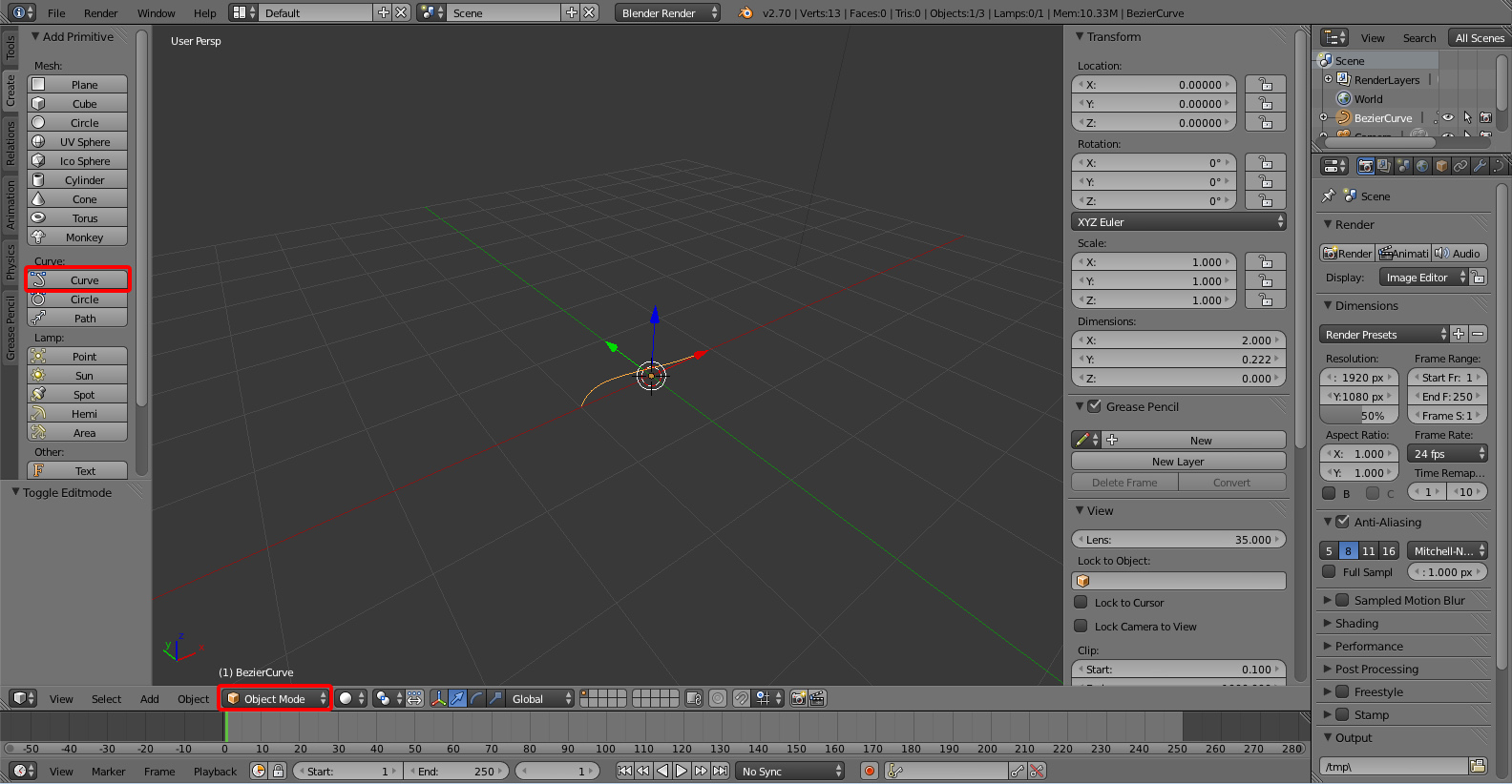 Adding a Curve - Creating Tubes in Blender Using Curves