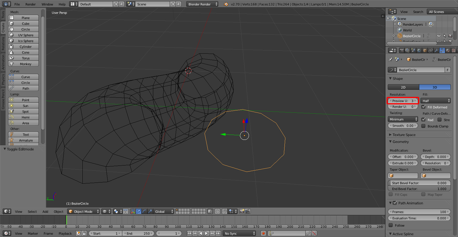 Adjust Bevel Geometry Resolution - Creating Tubes in Blender Using Curves